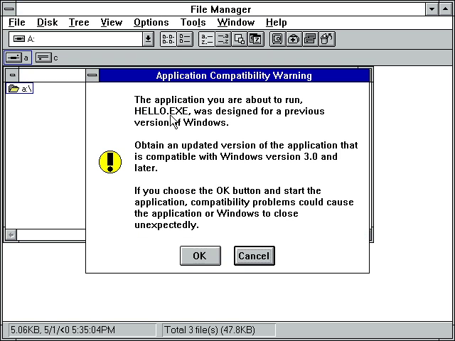 Windows 3.1 Compatibility Warning