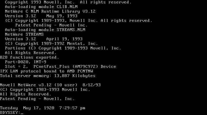 NetWare booted with drivers