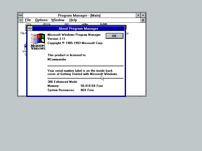 Windows 3.11 About