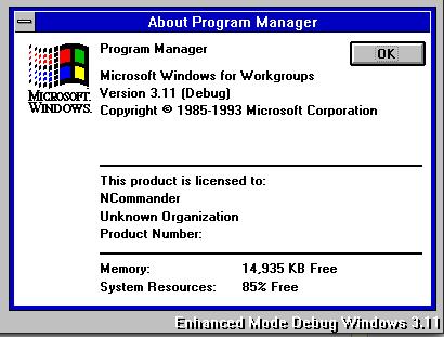 Windows Debug About