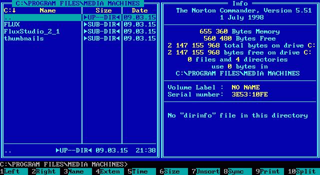 Norton Commander for DOS